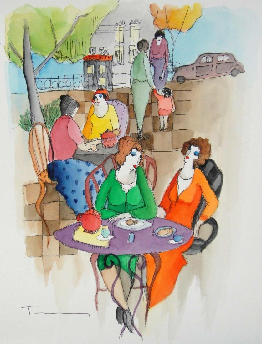 "15A: Itzchak Tarkay ""Untitled"" Watercolor Hand Signed"