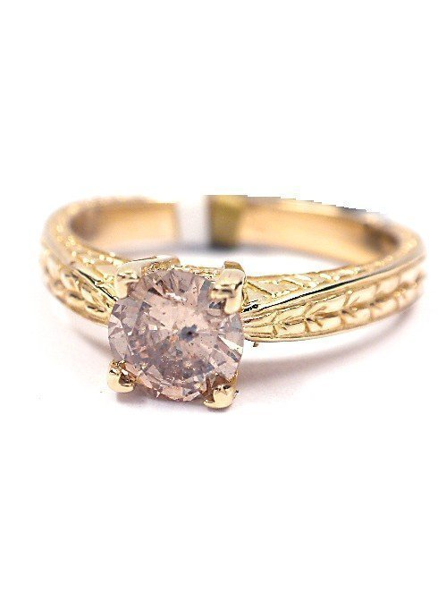 1: 14KT Gold 0.60ct Fancy Brown Diamond Solitaire Rin