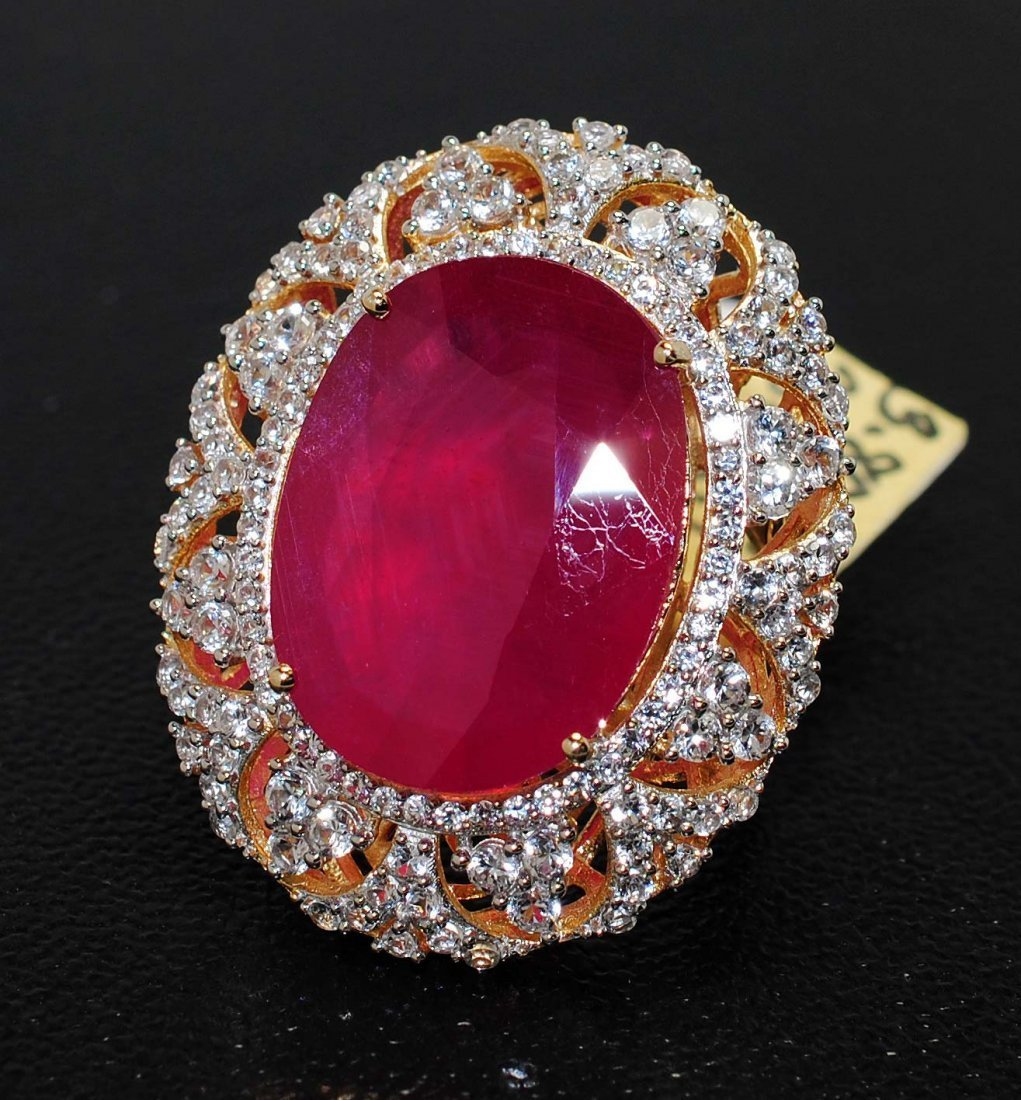 3: 28.00ct Ruby & 3.80ct CL Sapphire Plated Sterling Ri