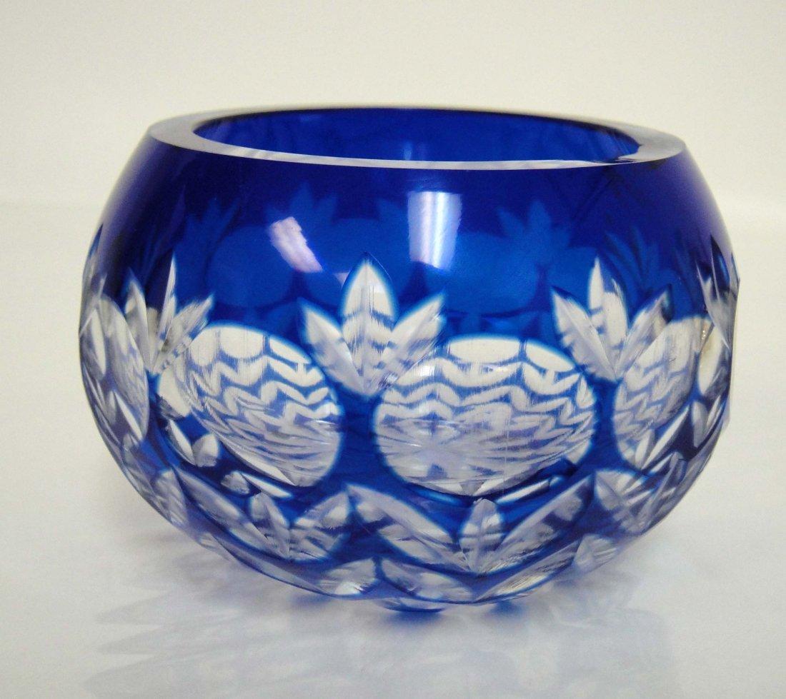 "2Z: Beautiful Blue Crystal Embossed Round Vase 3 x 2"""
