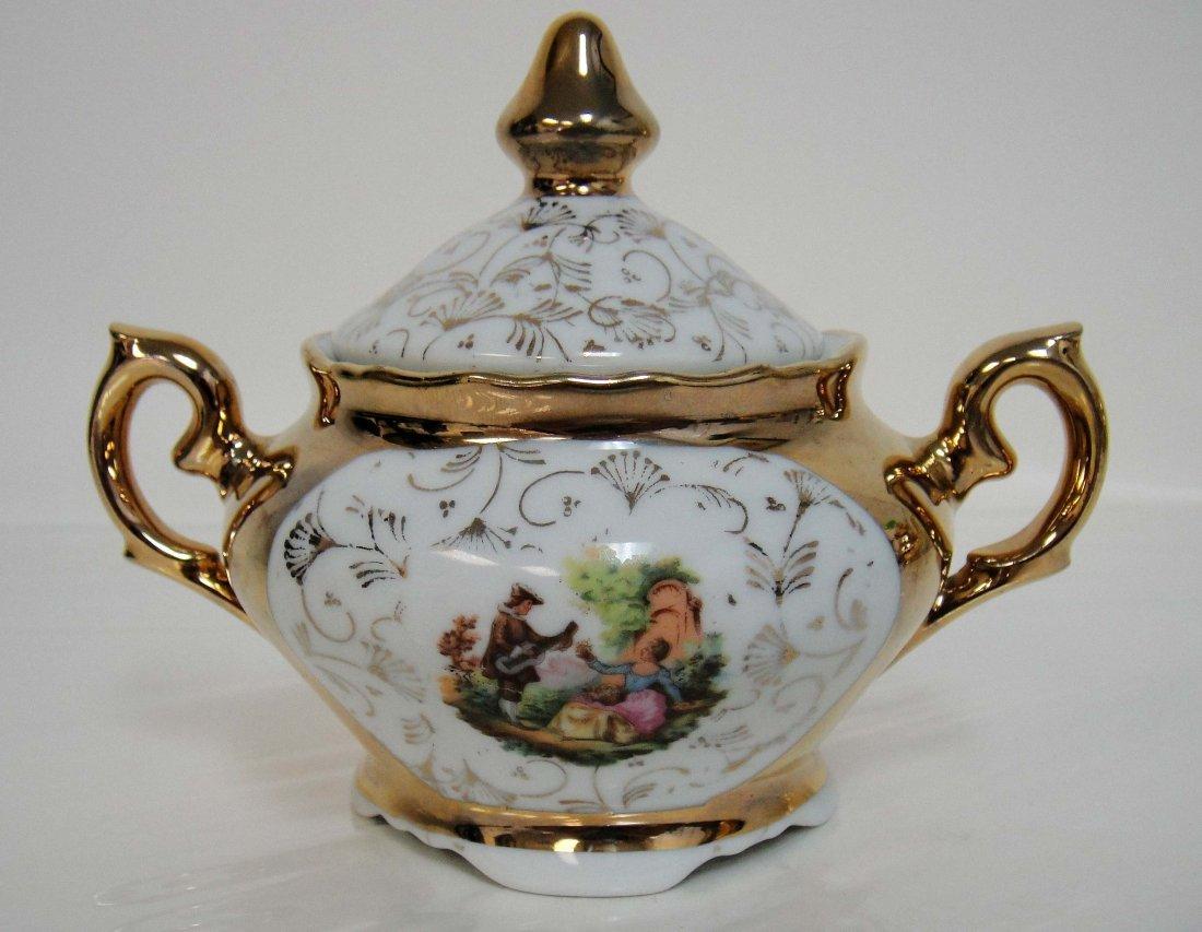 3Z: Vintage Porcelain Gold Painted Sugar Bowl w/ Lid