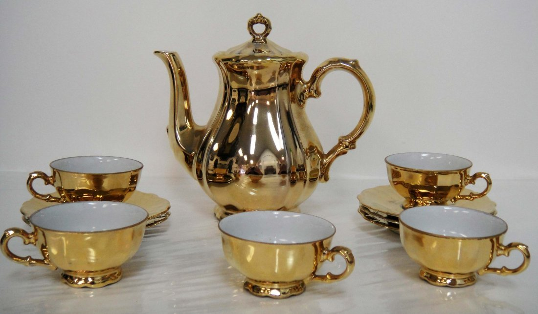 6Z: German Bareuther Bavaria Gold Luster Coffee Set