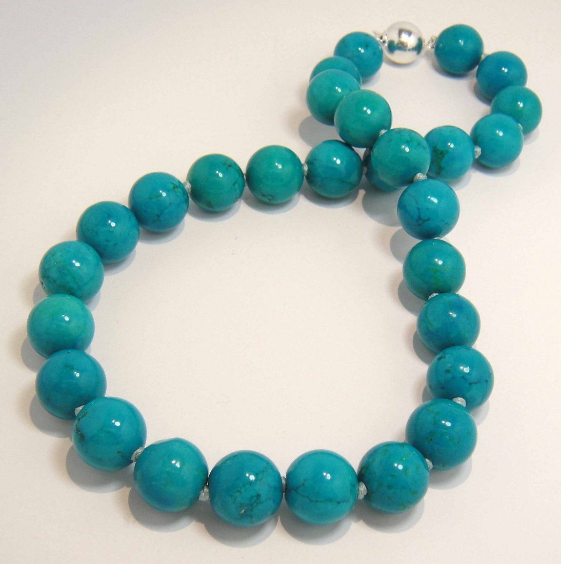 """1D: 15.00MM-14.16MM 18"""" Genuine Turquoise Necklace"""