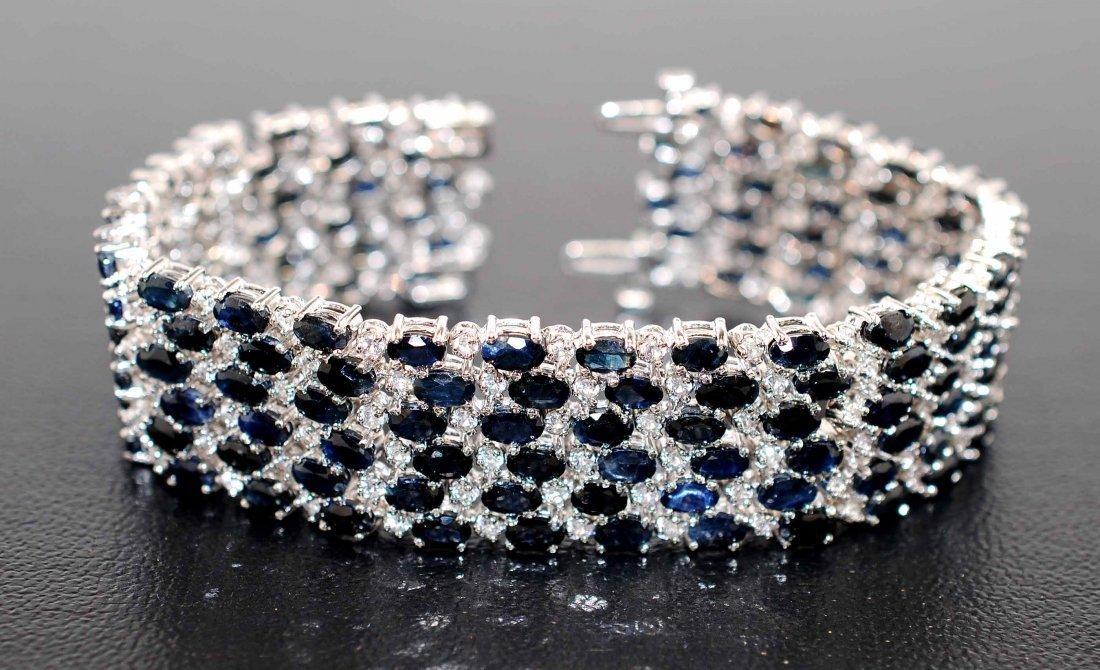 1H: 48.89ctw Blue & CL Sapphire Platinum Plated Bracele