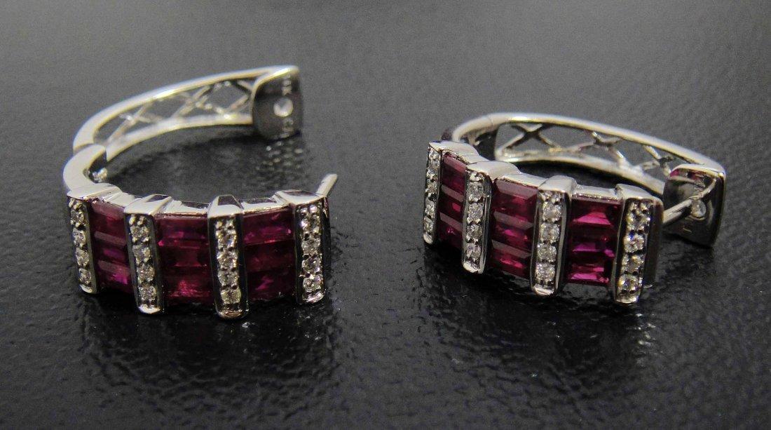 3H: 2.40ct Ruby & .25ct Diamond 14KT White Gold Earring