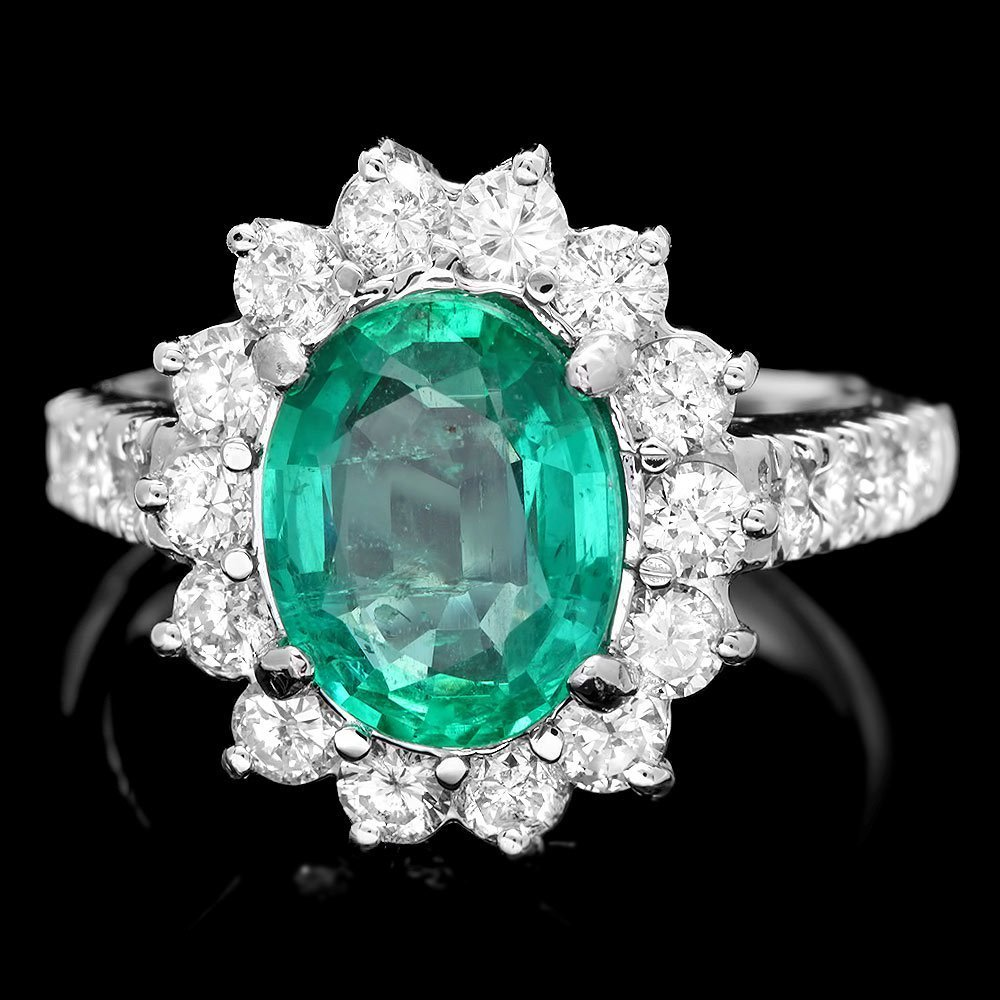 4H: $15200 CERTIFIED 14K WHITE GOLD 2.50CT EMERALD 1.2
