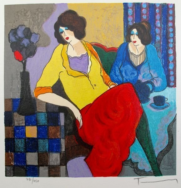 1A: Itzchak Tarkay SISTERS Hand Signed Limited Ed.