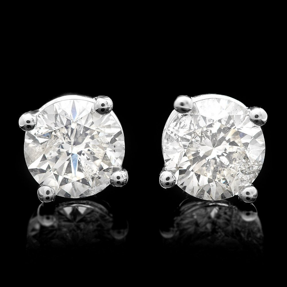 14KT White Gold, 1.00ct Diamond Stud Solitaire Earrings