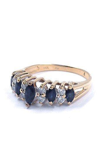 2: 14KT Yellow Gold 0.49ct Sapphire & .22ct Diamond Rin