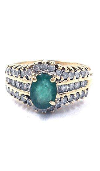 3: 14KT Yellow Gold 0.63ct Emerald & 0.50ct Diamond Rin