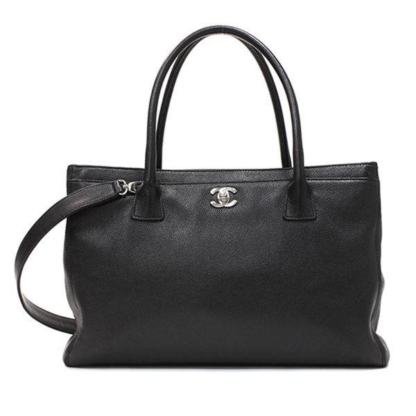 Genuine CHANEL Black Caviar Leather Cerf Tote Handbag