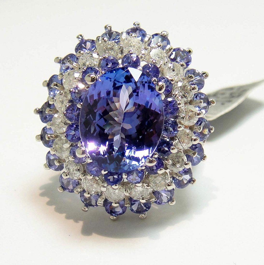 8.56ct Tanzanite & 1.27ct Diamond 14KT White Gold Ring