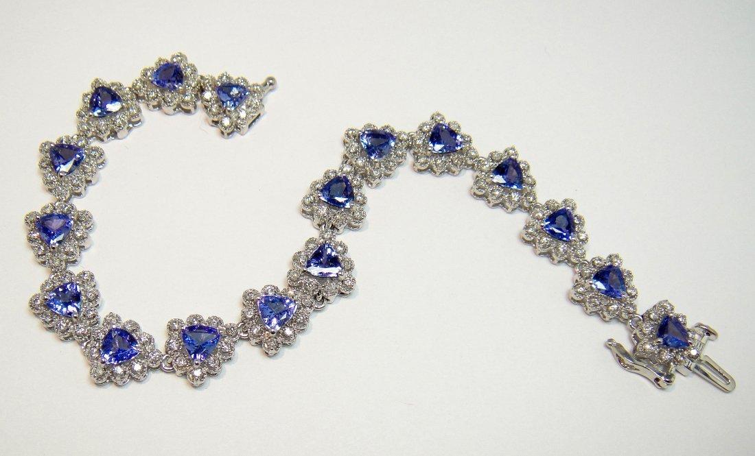 6.55ct Tanzanite & 1.59ct Diamond 14KT Gold Bracelet