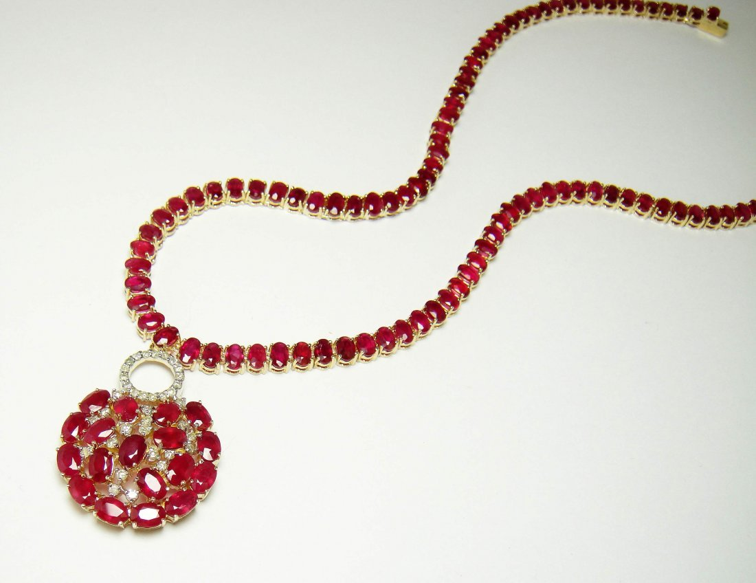 55.64ct Ruby & 0.82ct Diamond 14KT Yellow Gold Necklace
