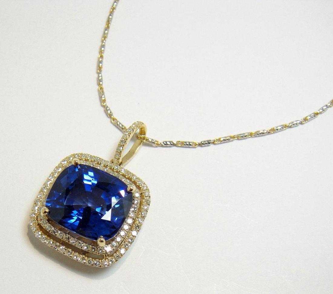 17.07ct Sapphire & .78ct Diamond 14KT Gold Pendant