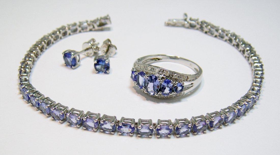 9.54ctw Tanzanite & Diamond Sterling Silver Ladies Set
