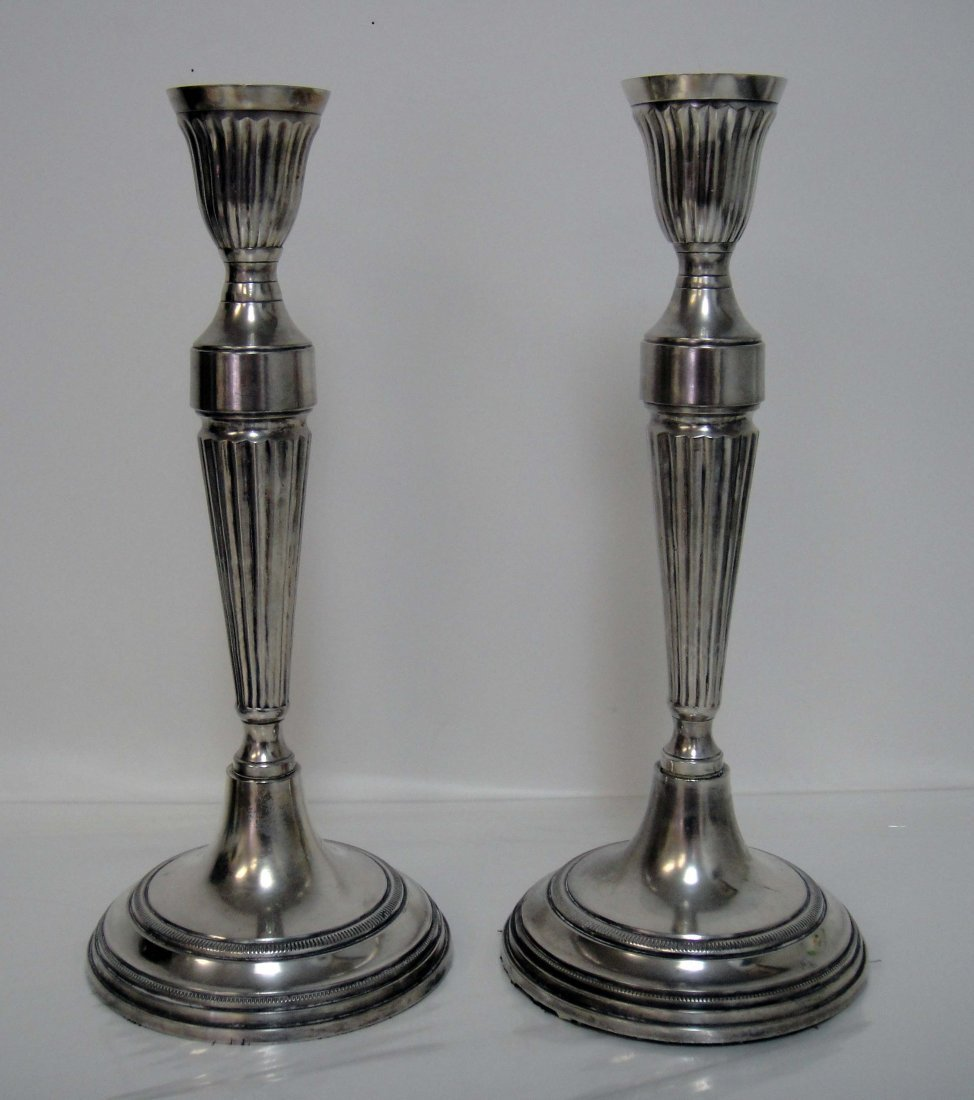 5B: Vintage Silver Plated Pair of Candle Holders 12 x 5