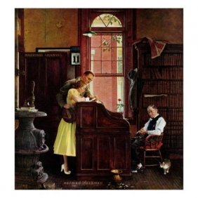 """3A: Norman Rockwell """"Marriage License"""" Offset litho"""