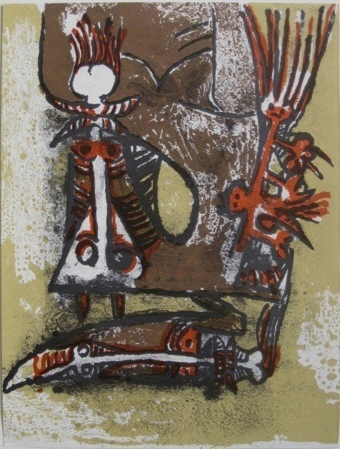 """4A: Wifredo Lam """"Double personnages"""" Lithograph"""