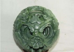 Chinese Jade Flower Magic Puzzle Ball +stand