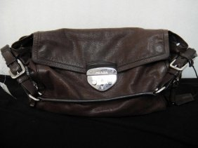 3D: Authentic Prada Milano Distressed Brown Handbag