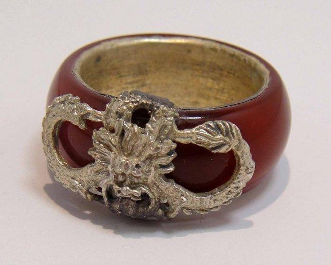 4BA: Rare tibet silver dragon inlay red jade men's rin