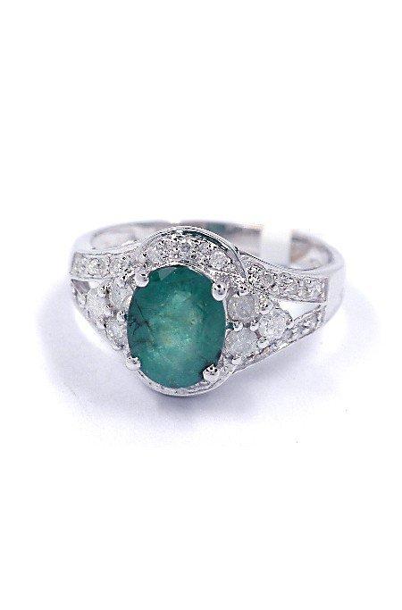 1.31ct Emerald & 0.28ct Diamond 14KT White Gold Ring