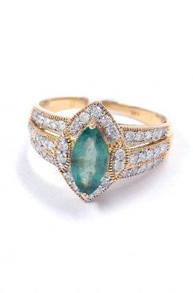 1.04ct Emerald & 0.55ctw Diamond 14KT Yellow Gold Ring