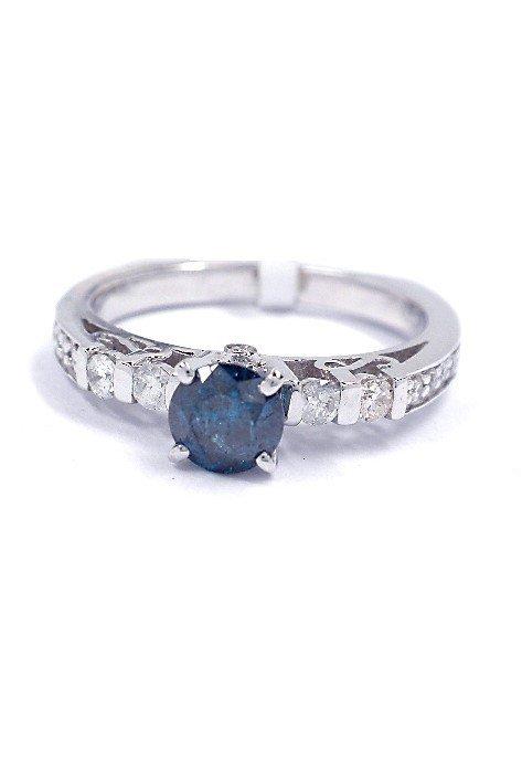 0.80ctw, 0.56ct Blue CNTR Diamond 14KT White Gold Ring