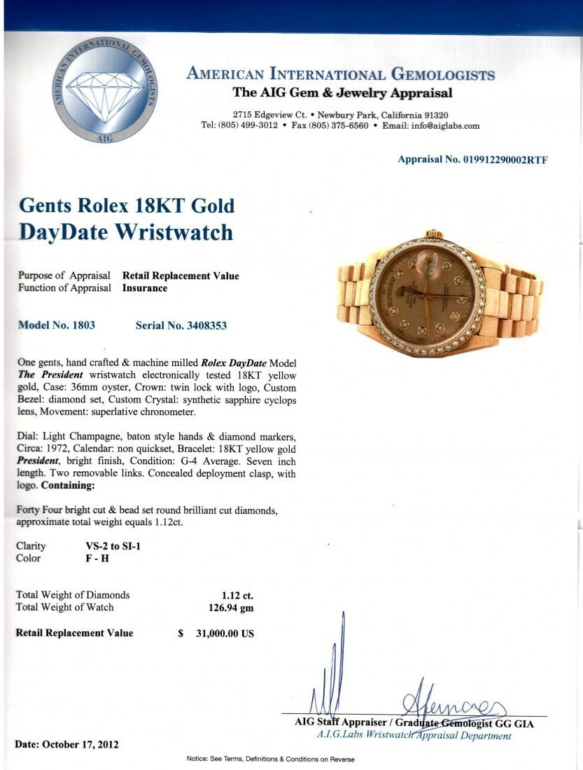 ROLEX DayDate Presidential 18KT Gold Gents Wristwatch - 4