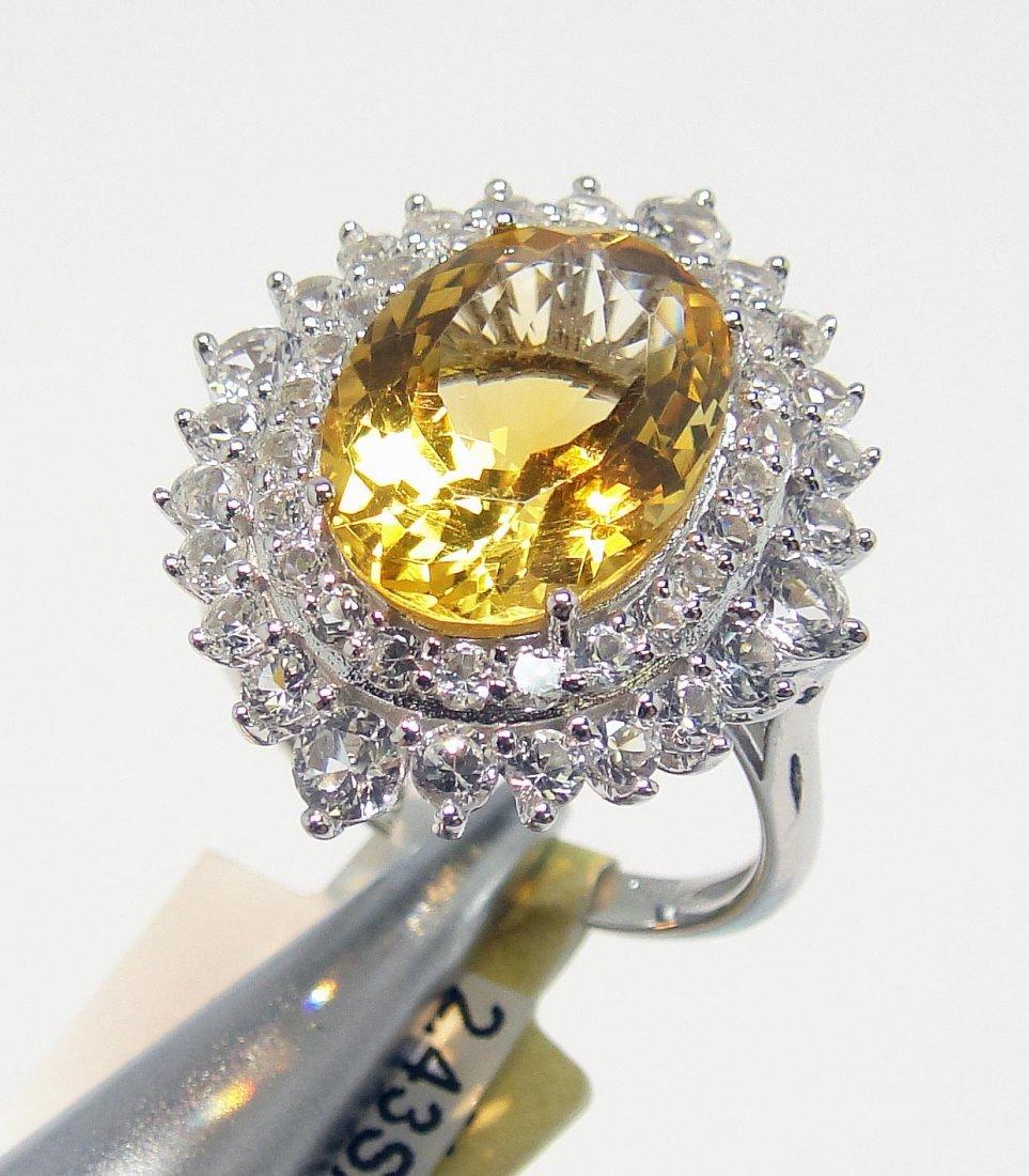 5.76ct Quartz & 2.43ct CL Sapp. Platinum Plated Ring