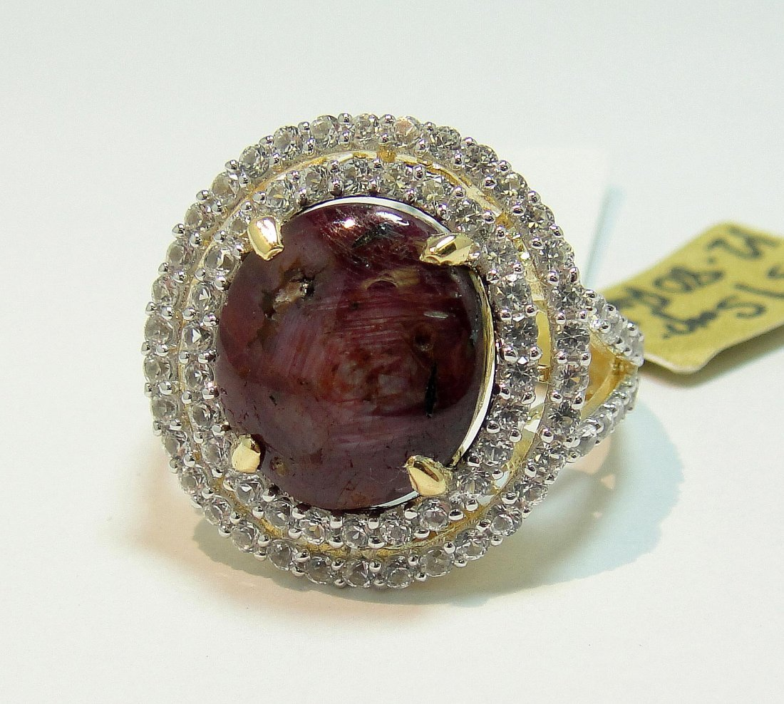 12.80ct Ruby & 1.51ct CL Sapphire 14KT Plated Ring