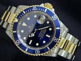 107R: ROLEX Submariner Blue 18KT Gold & SS Wristwatch