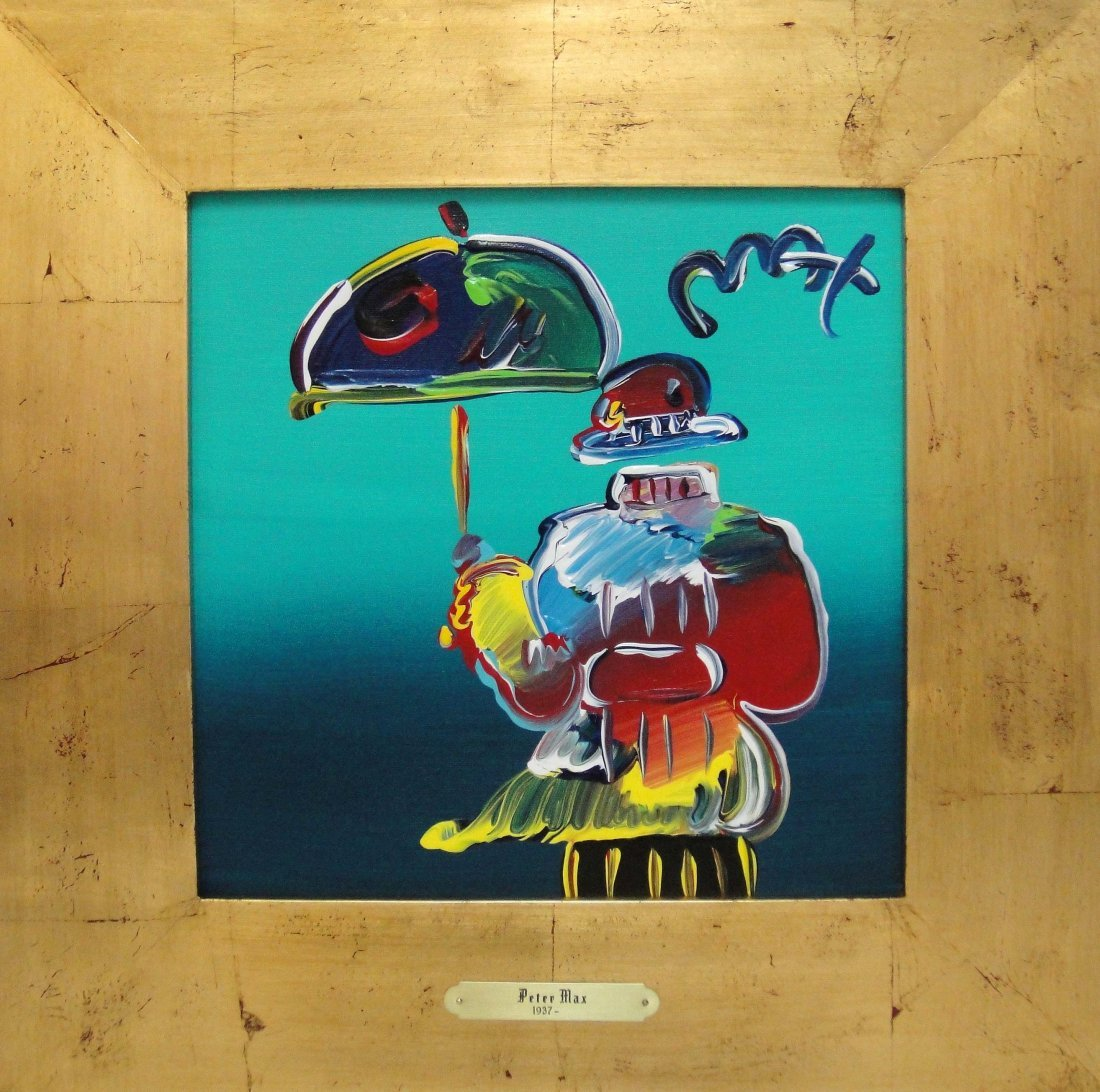 "Peter Max ""Umbrella Man"" Original acrylic on Canvas"