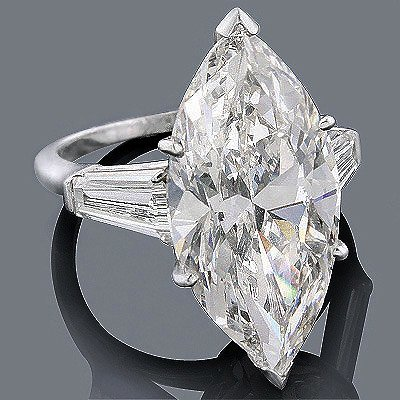GIA 4.91ct Marquise Brilliant Diamond Platinum Ring