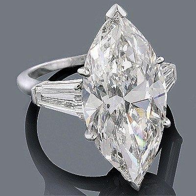 GIA 4.91ct Marquise Brilliant Diamond Platinum Ring