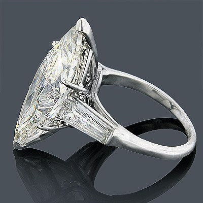 GIA 4.91ct Marquise Brilliant Diamond Platinum Ring - 2