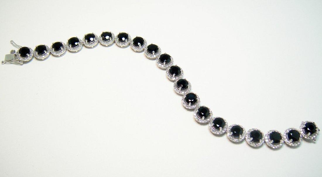 27.61ctw Genuine Sapphire Sterling Silver Bracelet