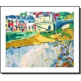 """Vlaminck """"Le Pont De Chatou"""" Lithograph Plate Signe"""