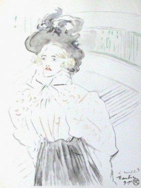 """6A: Lautrec """"femme à mi-corps"""" Lithograph Plate Signed"""