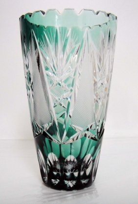 Beautiful Green Crystal Embossed Vase 7 X 4""