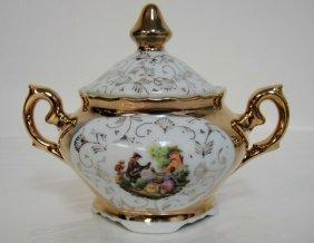 4B: Vintage Porcelain Gold Painted Sugar Bowl w/ Lid -