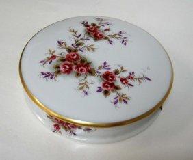 5B: Limoges France Vintage Porcelain Round Container