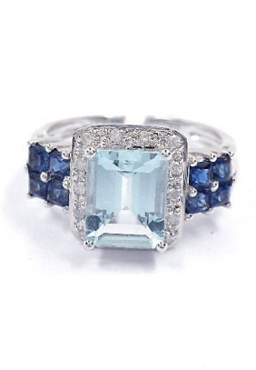 1: 2.79ct Aqua/Sapphire & 0.11ctw Diamond 10KTW Gold Ri