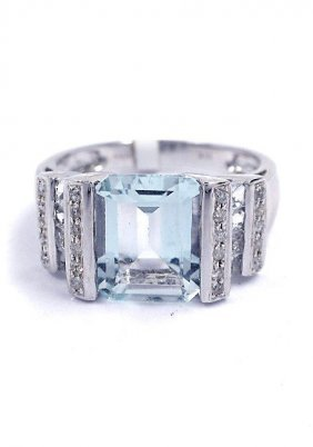 3: 3.14ct Aquamarine & 0.12ctw Diamond 14KTW Gold Ring