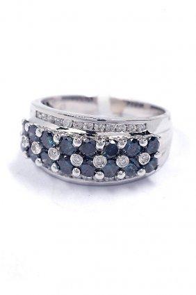 4: 1.38ctw Blue & White Diamond 14KT White Gold Ring