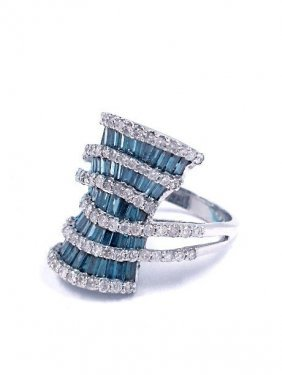 2.28ctw Blue & White Diamond 14KT White Gold Ring