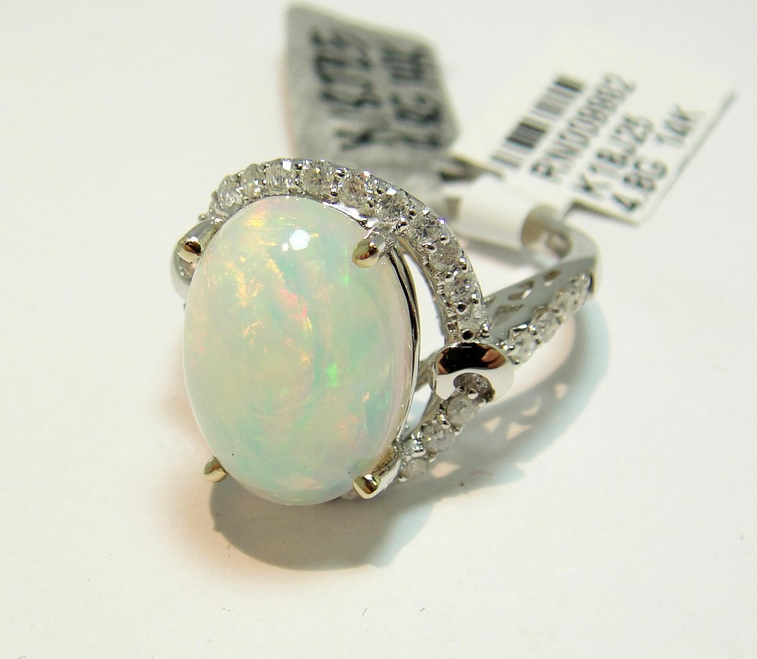 6: 5.01ct Opal & 0.52ctw Diamond 14KT White Gold Ring