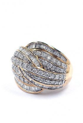 2C: 2.01ctw Diamond Cluster 10KT Yellow Gold Ladies
