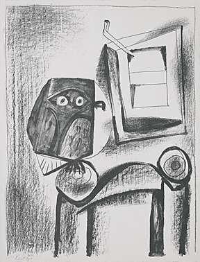 """6A: Pablo Picasso """"Le hibou noir"""" Lithograph"""